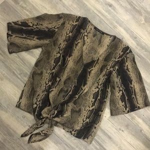 Tops - Snake skin blouse with tied waist